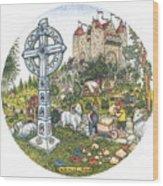 Castle Cross Circle Wood Print