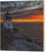 Castle Hill Lighthouse Sunset Wood Print