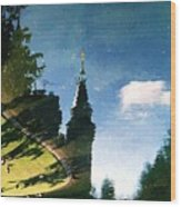 Castle In The Lake Wood Print
