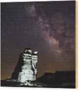 Castle Rock In White Wood Print