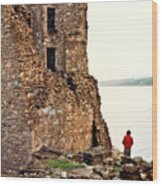 Castle Ruins On The Seashore In Ireland Wood Print
