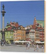 Castle Square And Sigismund's Column Warsaw Poland Wood Print