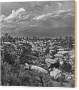 Castlewood Canyon And Storm - Black And White Wood Print