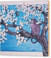 Cat Among The Cherry Blossoms Wood Print