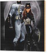 Cat And Bat Wood Print