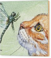 Cat And Dragonfly  Wood Print