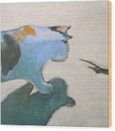 Cat And Lizard  Wood Print