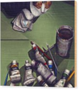 Cat And Paint Tubes Wood Print