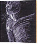 Cat At The Window Wood Print
