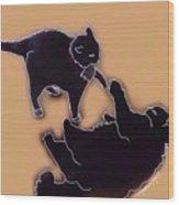 Cat Attack 4  Wood Print
