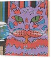 Cat Attack Wood Print