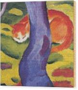 Cat Behind A Tree Wood Print