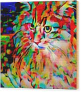 Cat By Fauvism Wood Print