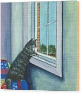Cat By The Window Wood Print