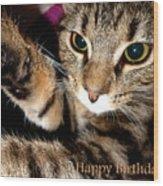 Cat Card Wood Print