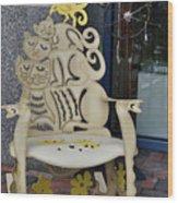 Cat Chair Wood Print