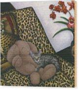 Cat Cheetah's Bed Wood Print by Carol Wilson