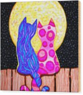 Cat Couple Full Moon Wood Print