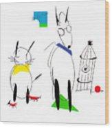 Cat, Dog, Hydrant Wood Print