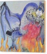 Cat Dragon Wood Print