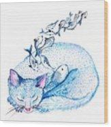 Cat Dreams Wood Print