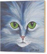 Cat Eyes Blue Wood Print