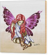 Cat Fairy In Purple  Wood Print