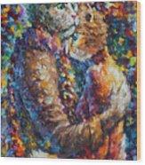 Cat Hug   Wood Print