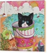 Cat In A Pail Wood Print