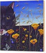 Cat In Flower Field Wood Print