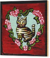 Cat In Heart Wreath 2 Wood Print