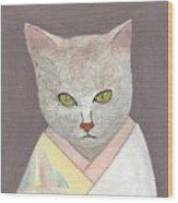 Cat In Kimono Wood Print