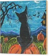 Cat In Pumpkin Patch Wood Print by Paintings by Gretzky