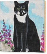 Cat In The Garden Wood Print