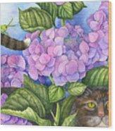 Cat In The Garden Wood Print
