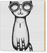 Cat In The Glasses Wood Print