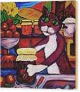 Cat In The Kitchen Bottling Fruit Wood Print