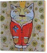 Cat-king Wood Print
