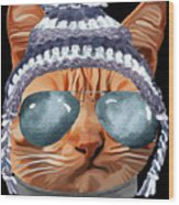 Cat Kitty Kitten In Clothes Aviators Toque Beanie Wood Print