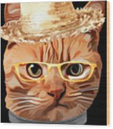 Cat Kitty Kitten In Clothes Yellow Glasses Straw Wood Print