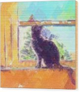 Cat Looking Out The Window Wood Print