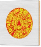 Cat Mandala Yellow And Red Wood Print