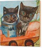 Cat Mischief Wood Print