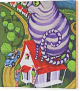 Cat On A Red Tin Roof Wood Print