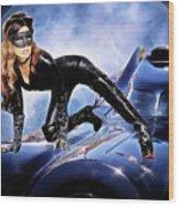 Cat On Bat Mobile Wood Print
