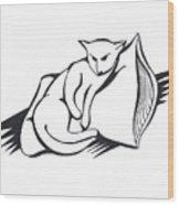 Cat On Pillow Wood Print