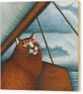 Cat On Sailboat Wood Print