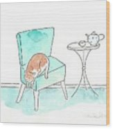 Cat On The Blue Chair Wood Print