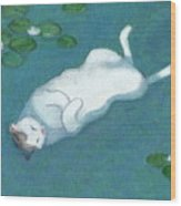 Cat On Vacation Wood Print