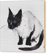 Cat Painting Wood Print